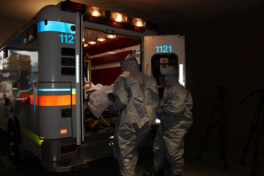 EMS and WRH staff conduct drill of a mock Ebola patient scenario. (Photo by Maureen Revait)