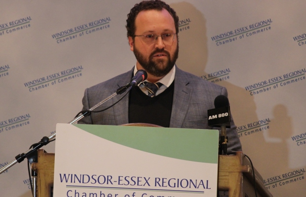 President of the Automotive Parts Manufacturers Association Flavio Volpe speaks at the Windsor-Essex Regional Chamber of Commerce AGM 2014, November 19, 2014. photo by Mike Vlasveld)