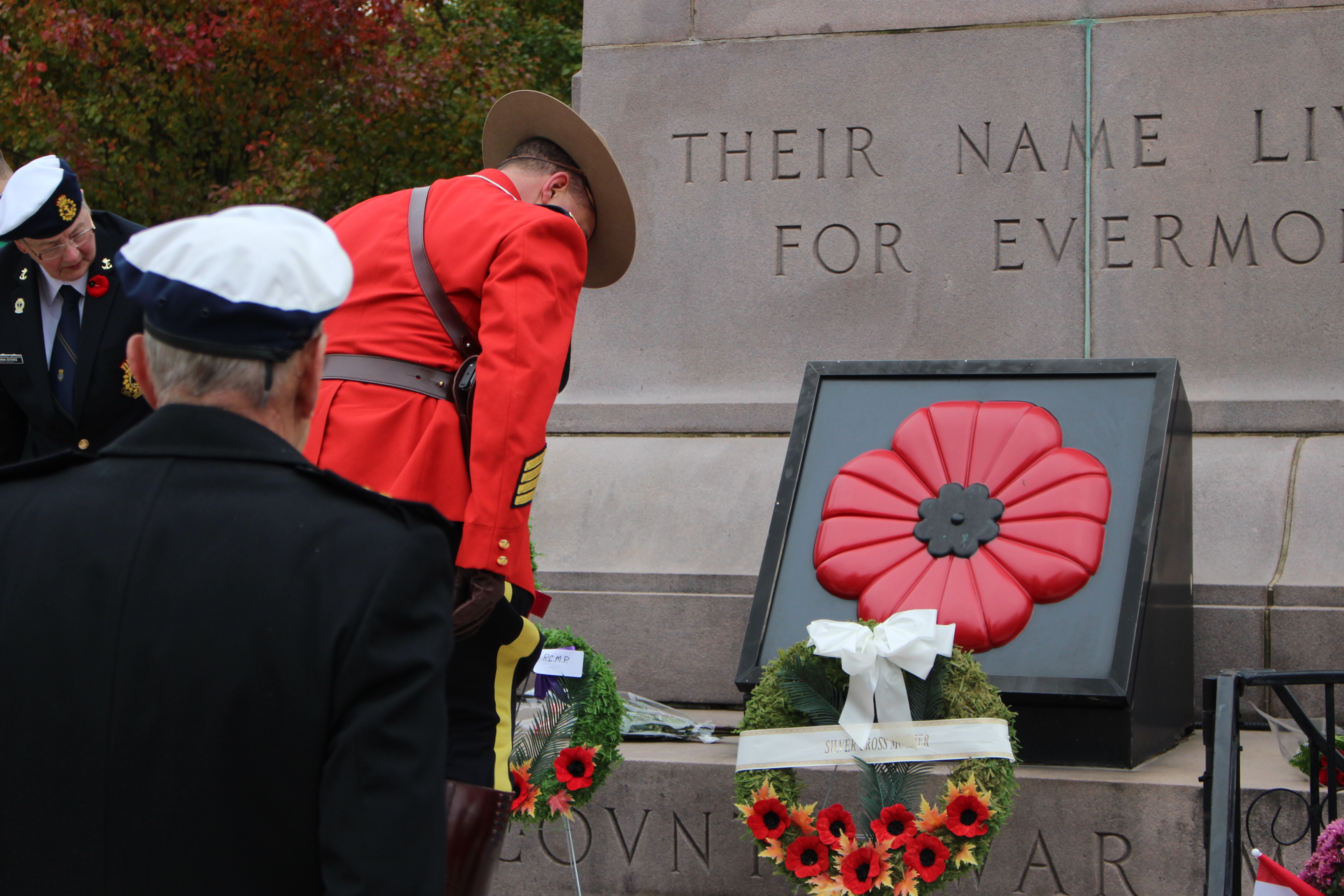 Hundreds gather at Windsor's cenotaph during a Remembrance Day ceremony on November 9, 2014. (Photo by Jason Viau)