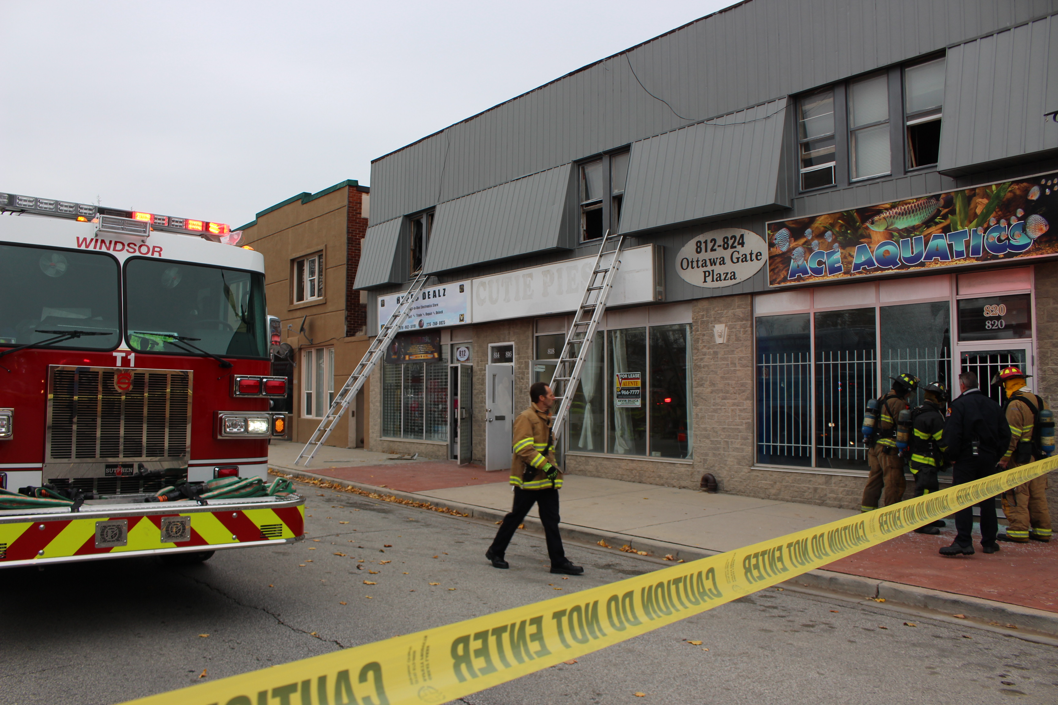 Fire crews put out a blaze at 812 Ottawa St. on Sunday afternoon. (Photo by Jason Viau)