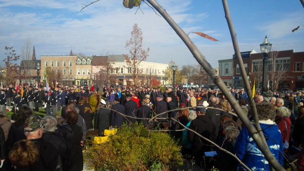 A large crowd attended today's Remembrance Day service in Goderich (photo - Bob Montgomery)