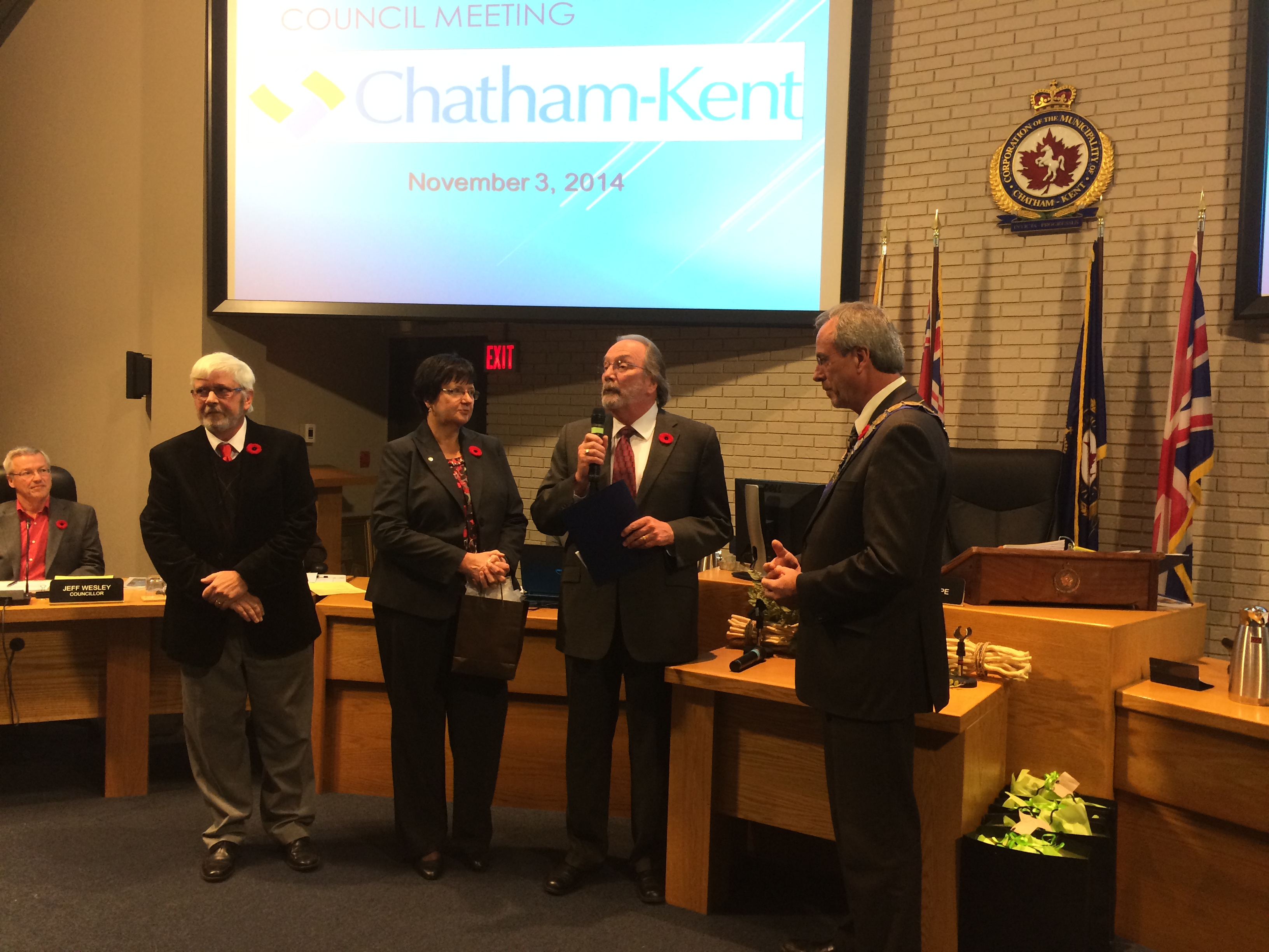 Dr. John R. Button is recognized by Chatham-Kent Council for being named president of Kiwanis International on the regular council meeting on November 3, 2014. (Photo by Ricardo Veneza)