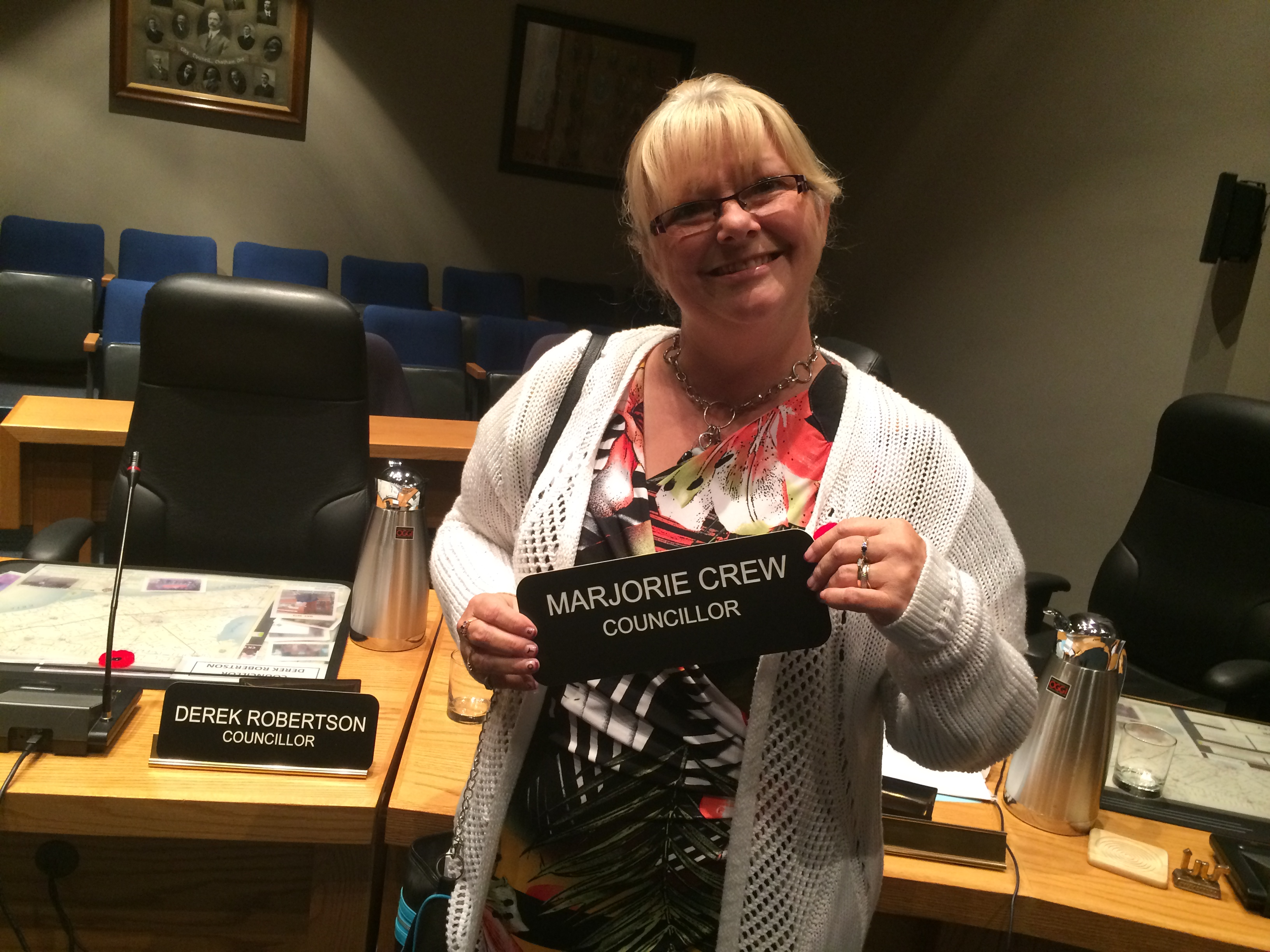 Marjorie Crew poses for photos on her last council meeting as a Chatham-Kent councillor on November 3, 2014. (Photo by Ricardo Veneza)