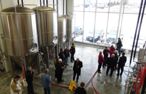 Dignitaries tour the new MacLean's Ales Brewery in Hanover.  Photo by Kirk Scott.