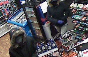 Windsor police are looking for help in identifying these two suspects following multiple convenience store robberies. (Photo courtesy of the Windsor Police Service)