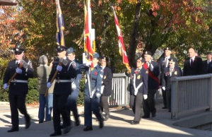 Legion members arrive at Cenotaph for Remembrance Day ceremonies (Photo taken by Jake Kislinsky)