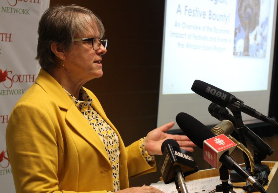 Canada South Festival Network Executive Director Rita Ossington delivers a report to media at Tecumseh Arena, November 12, 2014. (photo by Mike Vlasveld)