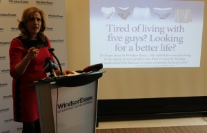 Sandra Pupatello talks about ads going up in towns across Windsor-Essex and Alberta, hoping to bring former residents back, November 18, 2014. (photo by Mike Vlasveld)