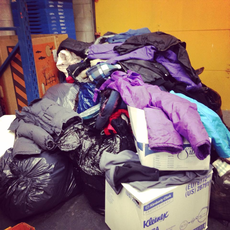 Winter coats collected for the Unemployed Help Centre. (Photo by Jay Marchillo.)