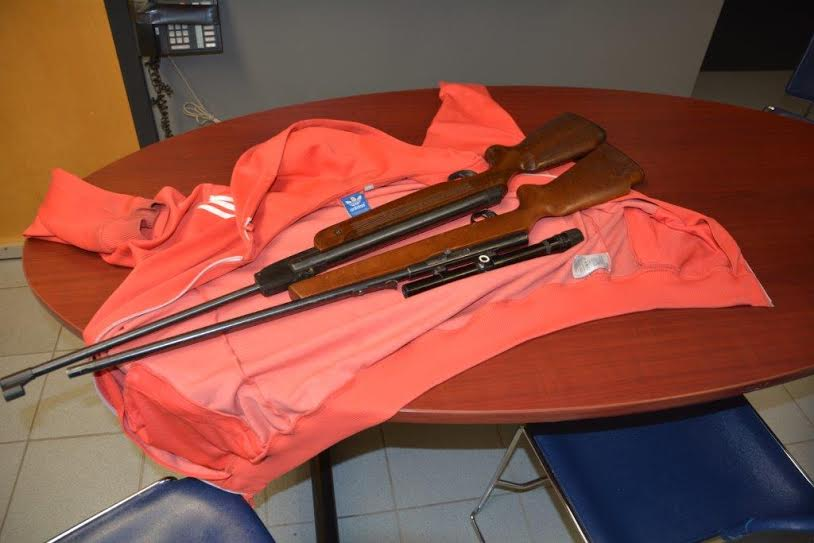 A pellet gun (top) and a .22 cal. rifle (bottom) seized by Chatham-Kent police. (Photo courtesy of the Chatham-Kent Police Service)