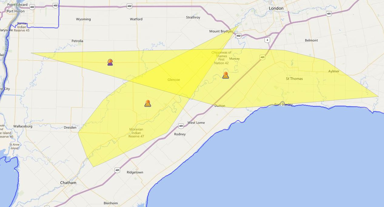 Hydro One is trying to fix a widespread power outage stretching from Chatham-Kent to London. (Photo courtesy Hydro One)