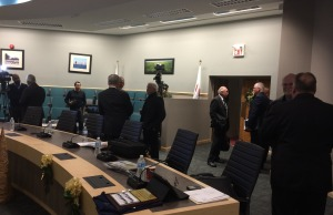 Essex County Councillors stop to chat with each other after adjourning their final meeting on November 19, 2014. (Photo by Ricardo Veneza)