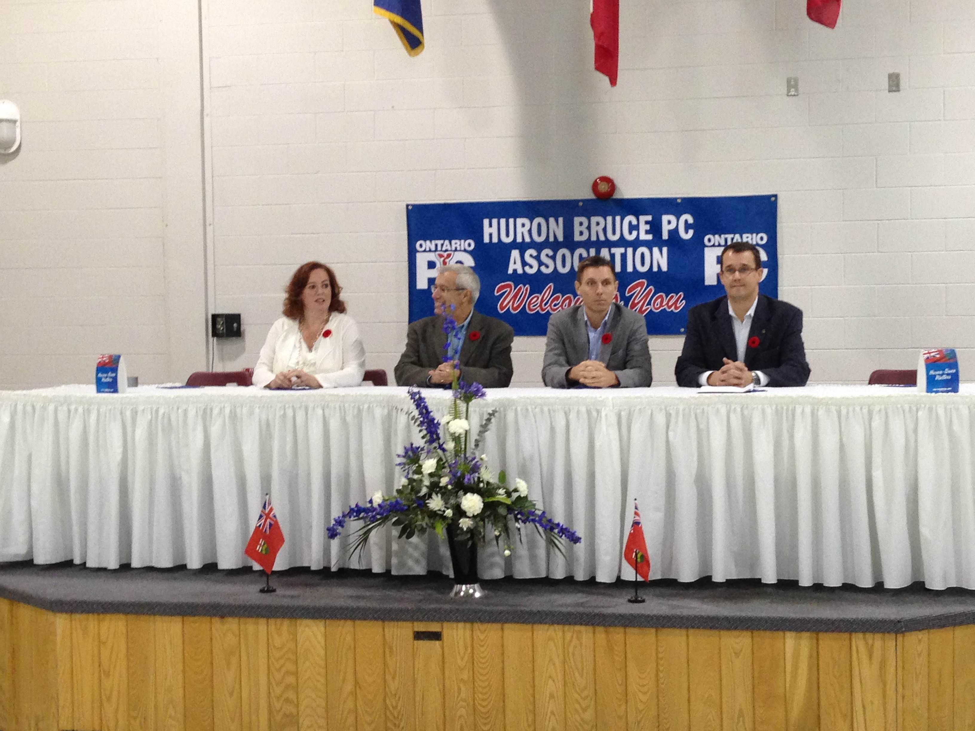 From L to R: Lisa MacLeod, Vic Fedeli, Patrick Brown and Monte McNaughton on hand in Wingham vying for leadership of the Ontario PC Party.