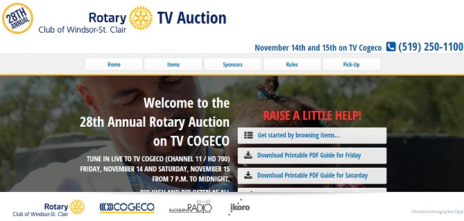 Screenshot of the Windsor-St. Clair Rotary TV Auction website