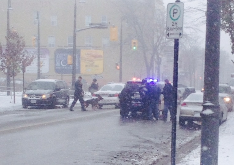 Police action in downtown Sarnia, November 20, 2014. (Submitted photo)