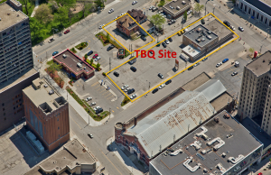 An aerial view of where the new University of Windsor School of Creative Arts will be located at the former Tunnel BBQ site. (Photo courtesy University of Windsor)
