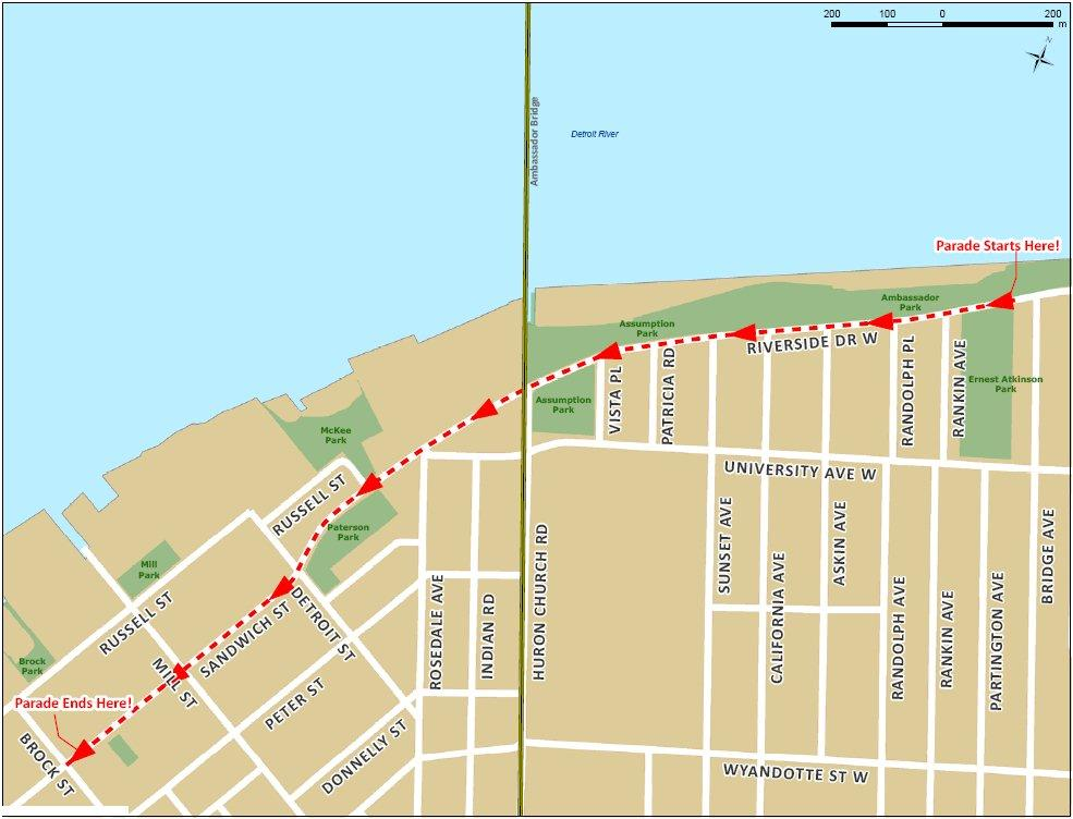 The route of this year's annual Santa Claus Parade in Windsor. (courtesy of Windsor Parade Corporation.)