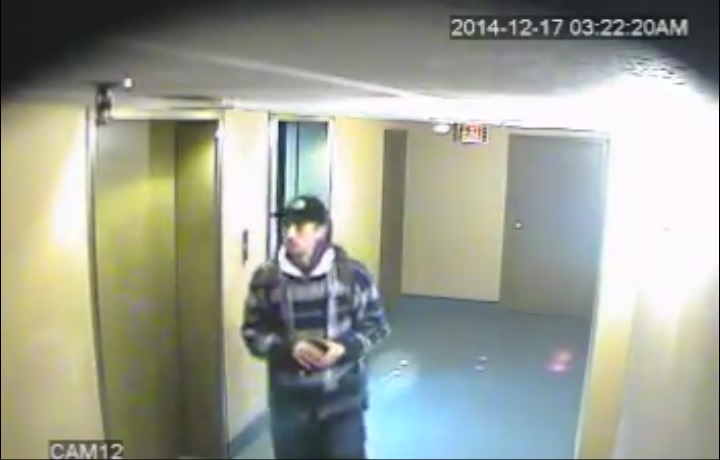 Image of a suspect Windsor police are looking for, December 24, 2014. (photo courtesy Windsor police surveillance video)