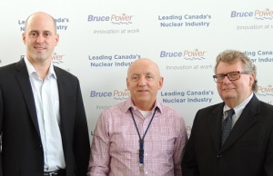 Left to right: Huron-Bruce MP Ben Lobb,  Bruce Power President & CEO Duncan Hawthorne and Ed Holder, Minister of State for Science and Technology.