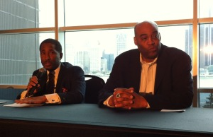 Windsor Express Owner Dartis Willis (left) and Head Coach Bill Jones (right) talk about the upcoming game at the Colosseum at Caesars Windsor, December 10, 2014. (photo by Mike Vlasveld)