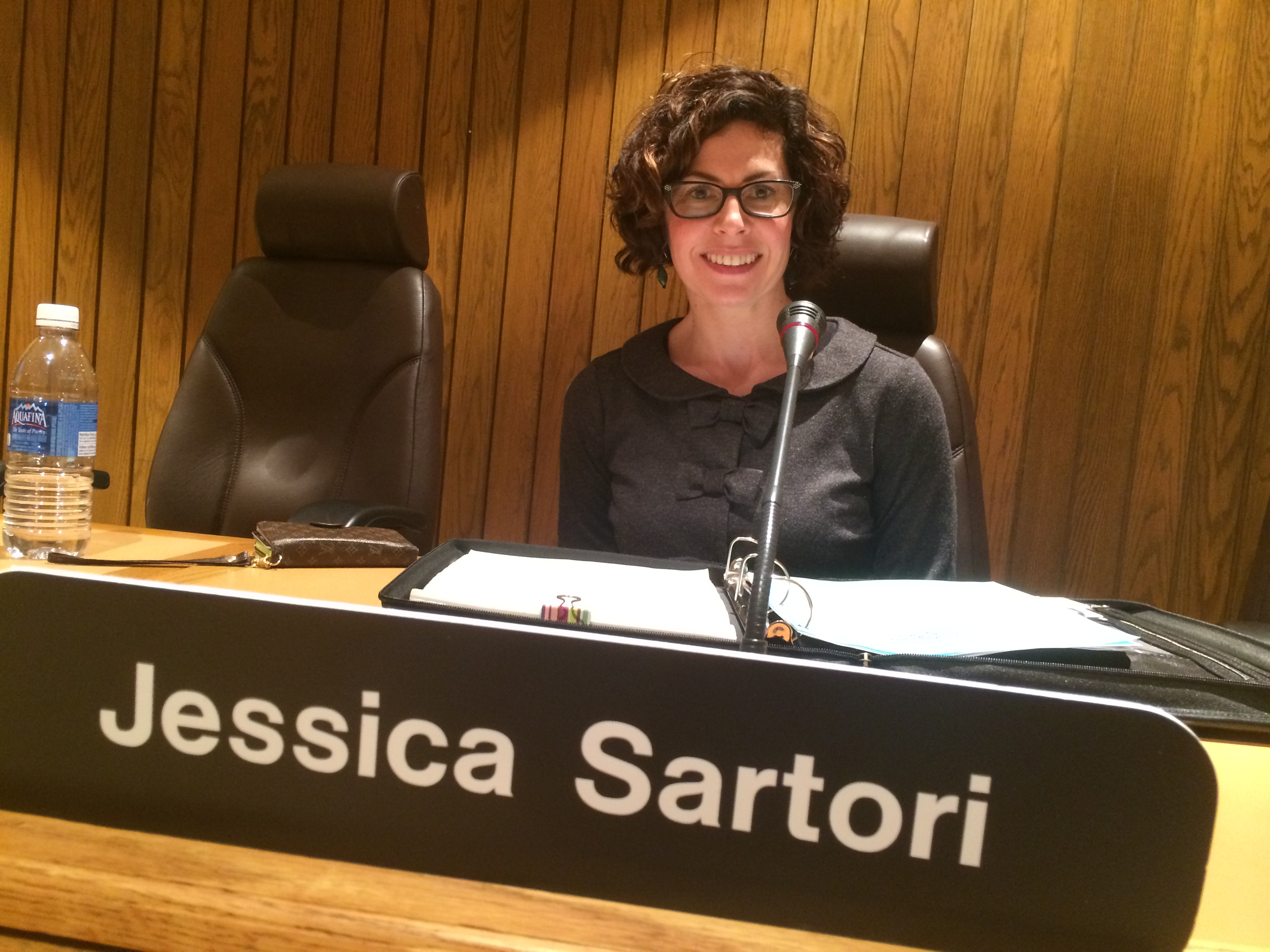 Jessica Sartori, trustee for the Greater Essex County District School Board, is seen in her seat at the board table on December 2, 2014. (Photo by Ricardo Veneza)