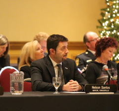 Kingsville Mayor Nelson Santos (C) is seen in this December 10, 2014 photo as Essex County Council holds its inaugural meeting on December 10, 2014 at the Ciociaro Club. (Photo by Ricardo Veneza)