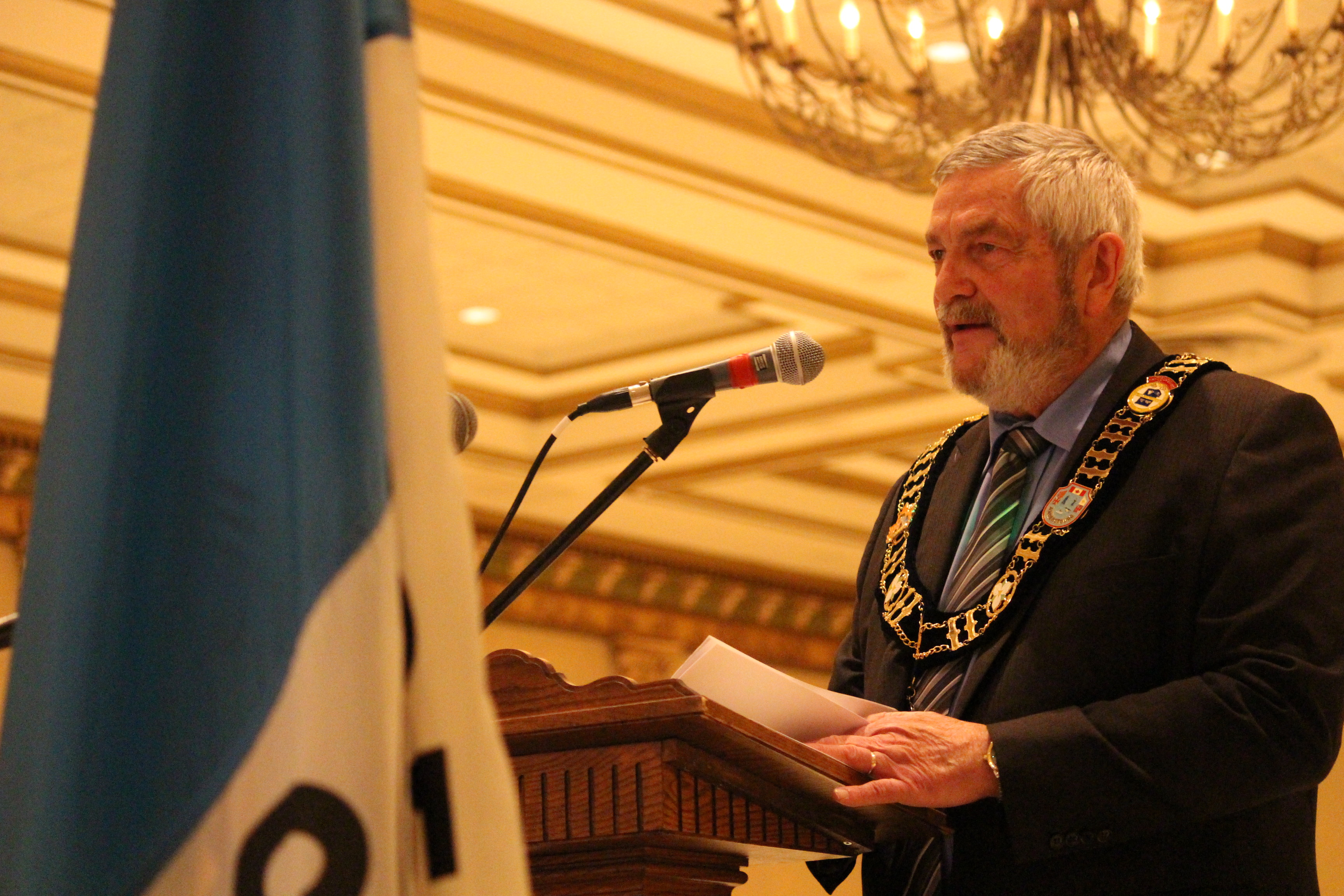 Tom Bain addresses Essex County Council after being re-elected as Warden at the inaugural meeting of council on December 10, 2014 at the Ciociaro Club. (Photo by Ricardo Veneza)