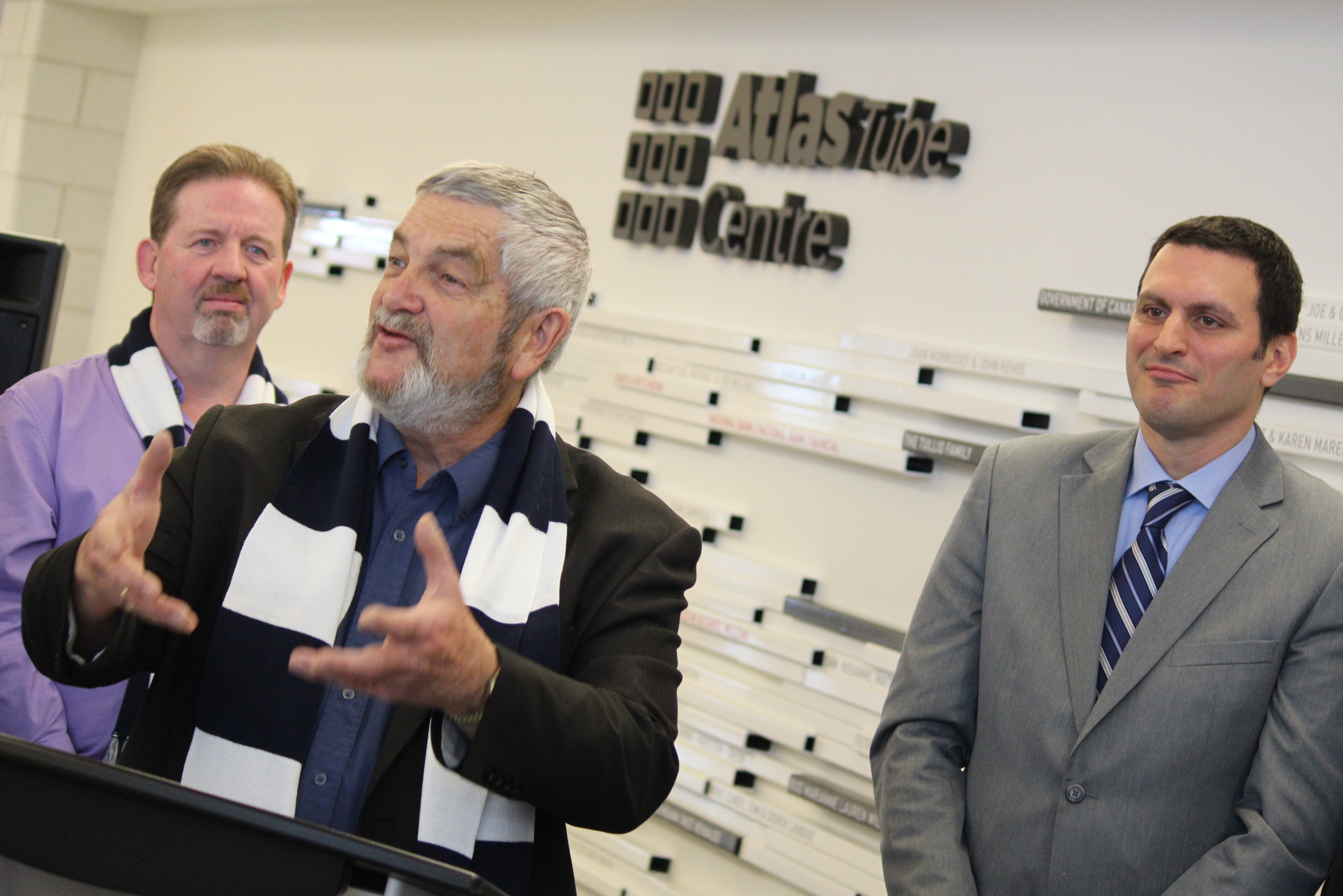 Lakeshore's director of community and development services Steve Salmons, left, Lakeshore mayor Tom Bain and Essex MP Jeff Watson attend the Atlas Tube Centre's grand opening on December 13, 2014. (Photo by Jason Viau)