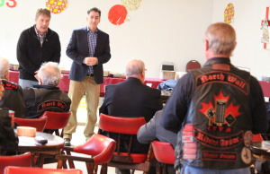 NDP Veterans Affairs critic Peter Stoffer, left, and Windsor-West MP Brian Masse speak with veterans in Windsor on December 14, 2014. (Photo by Jason Viau)