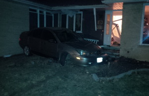 Chatham-Kent police have arrested a 17-year-old after the youth allegedly crash a stolen car into the front of a Chippewa Dr. home while impaired. (Photo courtesy Alana Francis)