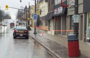 A part of Chesley's downtown taped off for a police investigation.  There are no details at this point.  One cruiser is left to guard the scene after, according to witnesses, multiple cruisers appeared in the downtown earlier in the morning.  (Photo by Jeff Irwin)
