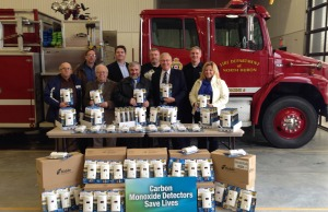 From L-R  Back: Councillor Bill Knott, Doug DeRabbie(Insurance Bureau of Canada), James Marshall(Fire Prevention Officer), Fire Chief David Sparling Front: Councillor James Campbell, Councillor Brock Vodden, Reeve Neil Vincent, MPP Ernie Hardeman(Oxford), MPP Lisa Thompson(Huron Bruce)