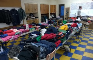 Clothing donated to the Marlborough Public School community by a congregation in Richmond Hill, December 17, 2014. (Photo courtesy of Shaun Campbell.)