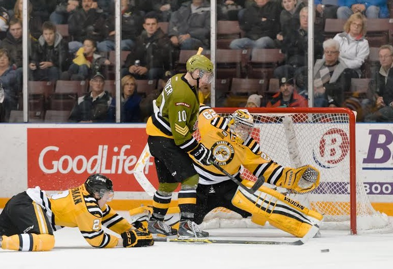 The Sarnia Sting take on the North Bay Battalion, December 5, 2014. (Photo courtesy of Metcalfe Photography)