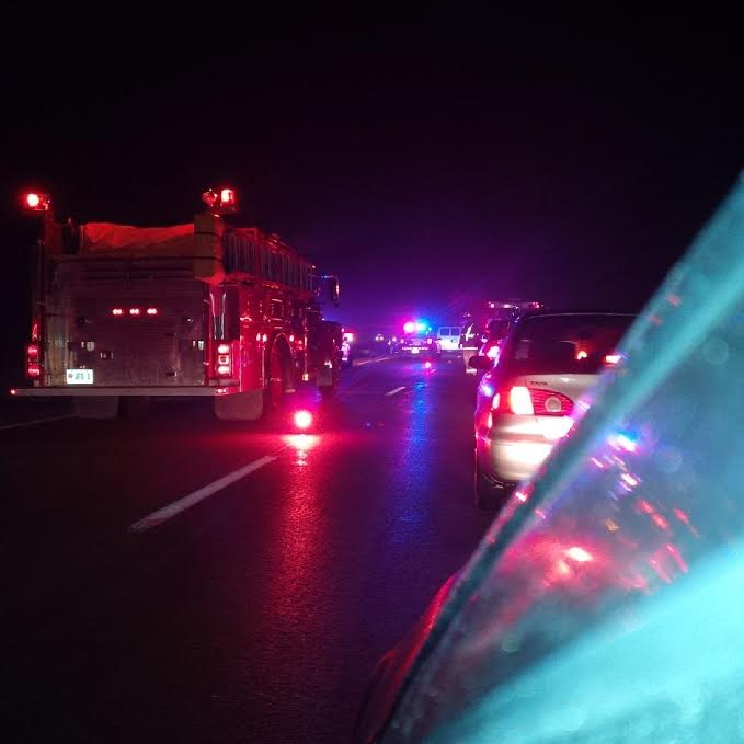 Emergency crews respond to a fatal crash on Hwy. 402 near Oil Heritage Rd., December 13, 2014. (Submitted photo)