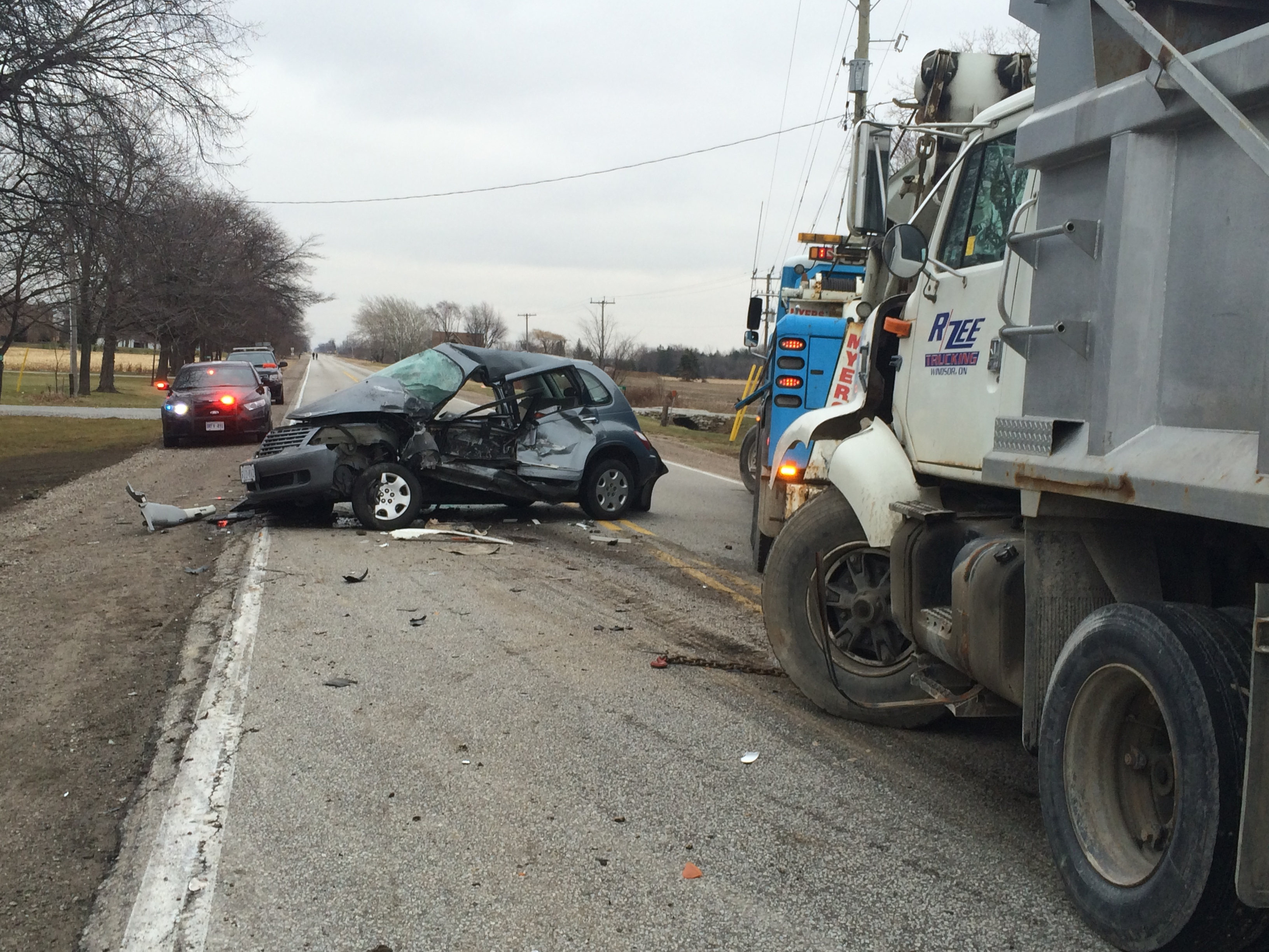 Three vehicles involved in a fatal crash on County Rd. 46 at County Rd. 23 in Lakeshore on December 18, 2014. (Photo by Ricardo Veneza)