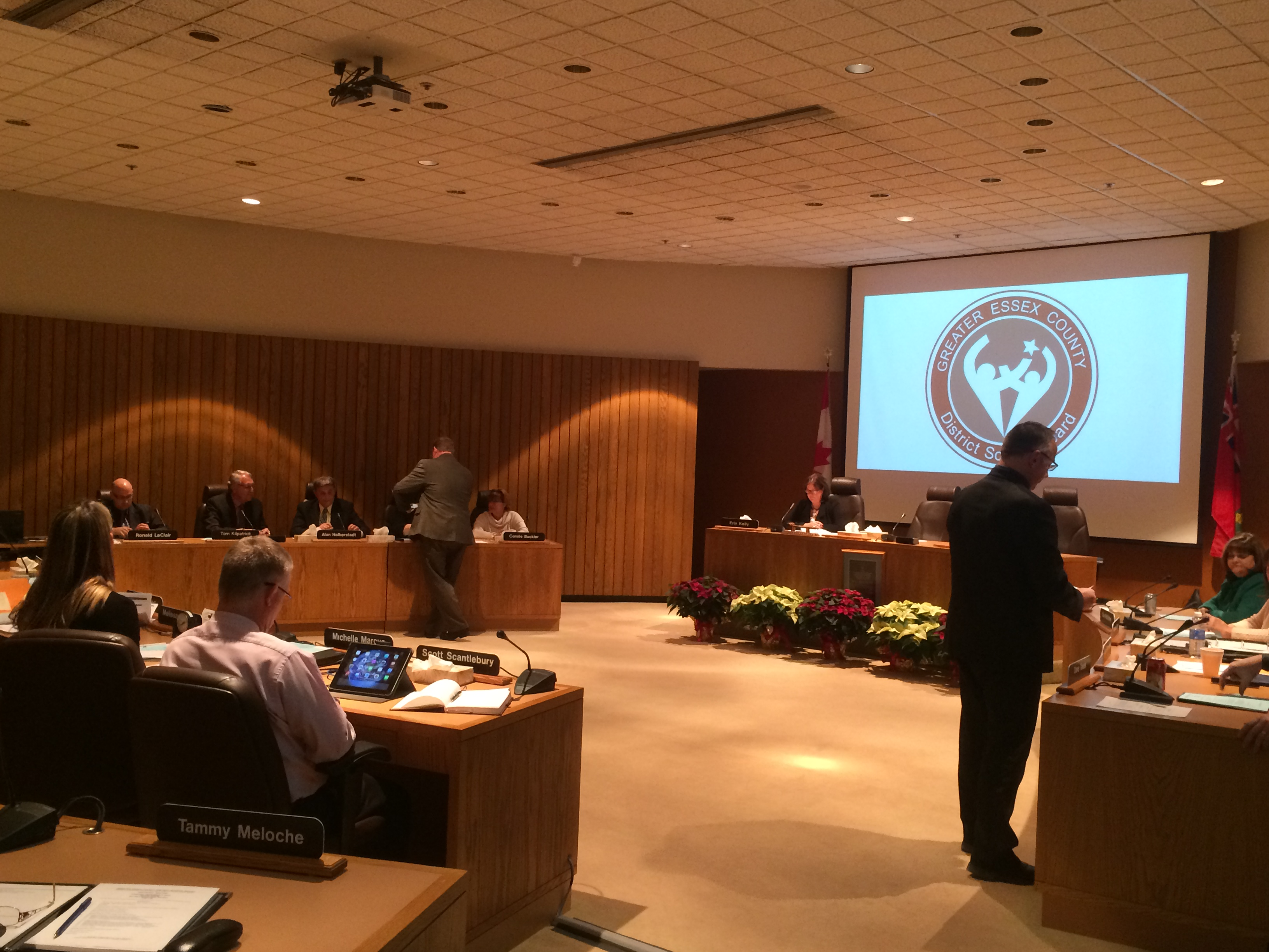 Ballots are handed out at the GECDSB organization meeting on December 2, 2014 as trustees vote for a new chairperson and vice-chairperson. (Photo by Ricardo Veneza)