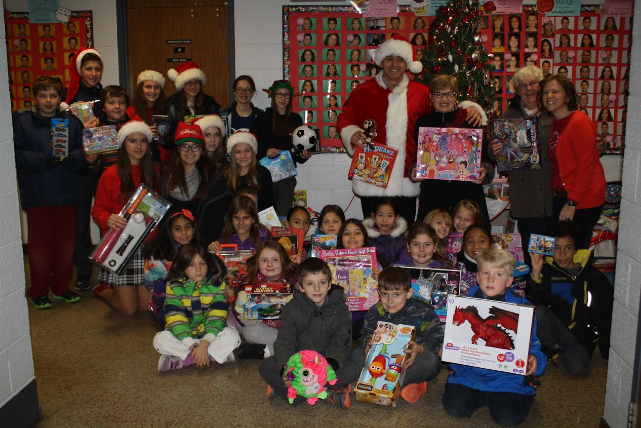 Students from St. Rose and Corpus Christi schools helped collect toys for those in need. (Photo courtesy Rosemary Barbera)