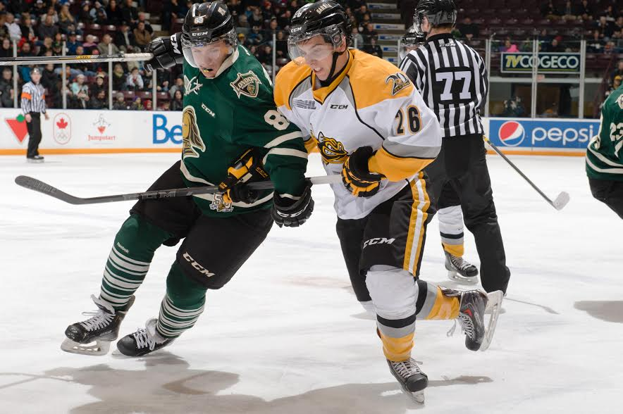 The London Knights take on the Sarnia Sting, December 31, 2014. (Photo courtesy of Metcalfe Photography)
