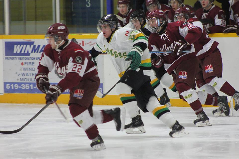 The Dresden Jr. Kings battle the Wallaceburg Lakers, January 18, 2015. (Photo courtesy of Jocelyn McLaughlin)