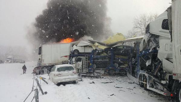 Michigan State Police are investigating a massive car pileup on I-94. (Photo courtesy Michigan Weather/Twitter)