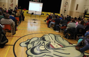 A public meeting to discuss the review process for several area public schools was held at General Amherst on January 29, 2015. (Photo by Jason Viau)