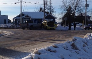 A two vehicle crash at the north end of Wingham.  Photo by Ryan Brandt.