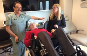 Dr. Larry Soden unveils new equipment to improve accessibility at his Colborne Rd. office. January 28, 2015 (BlackburnNews.com photo by Melanie Irwin)