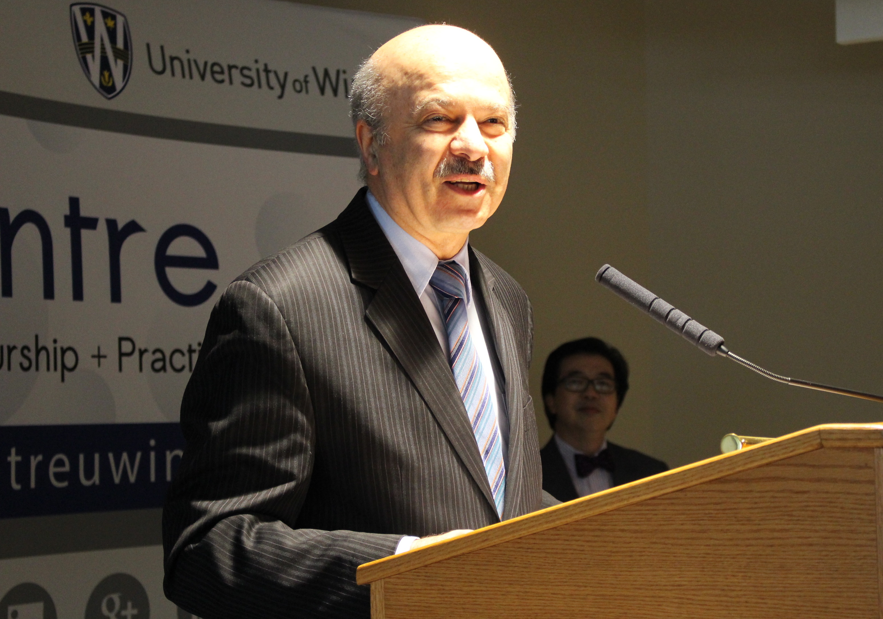 Ontario Minister of Research and Innovation Reza Moridi speaks to a crowd at the University of Windsor's EPICentre, January 20, 2015. (Photo by Mike Vlasveld)