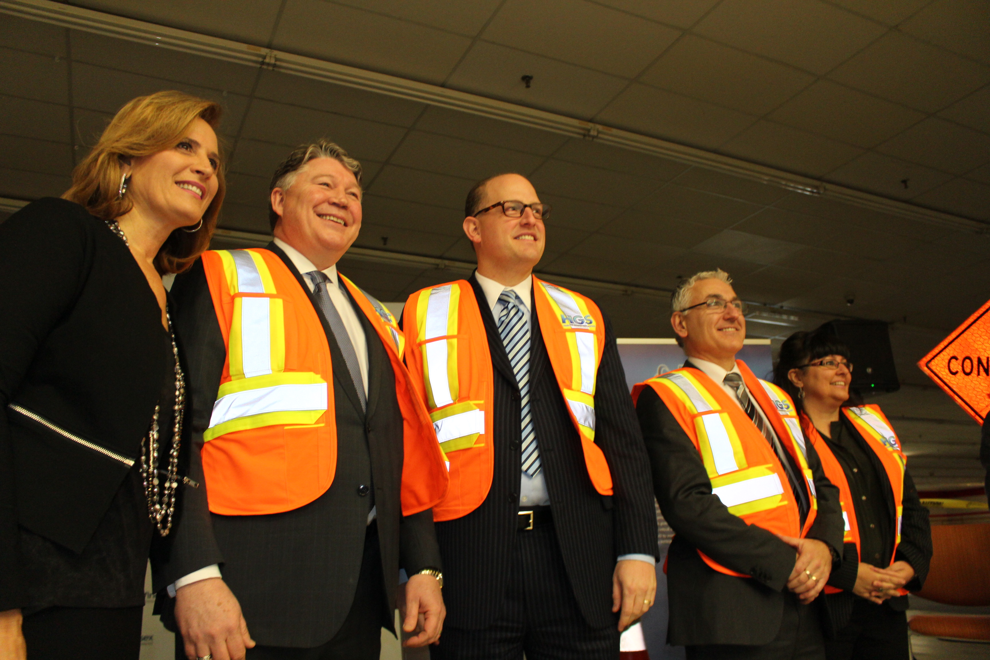 WEEDC CEO Sandra Pupatello, HGS Canada President Ross Beattie and WIndsor Mayor Drew Dilkens at HGS Announcement, January 15 2015. (Photo by Adelle Loiselle.)