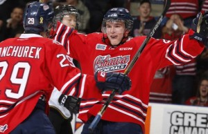 Kenny Huether celerates one of his goals on the way to his first OHL hat-trick.(Photo courtesy oshawagenerals.com)