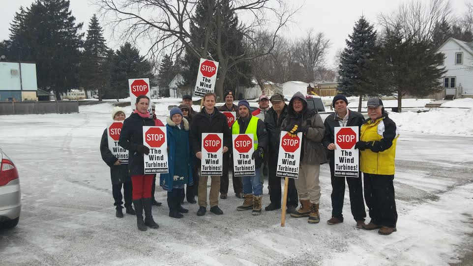 Members of the West Elgin Residents Opposing Wind Turbines (WEROWT) pictured along with Elgin-Middlesex-London MPP Jeff Yurek (third from left, front). Photo taken January 20, 2015. (Photo courtesy of Jane Anderson)