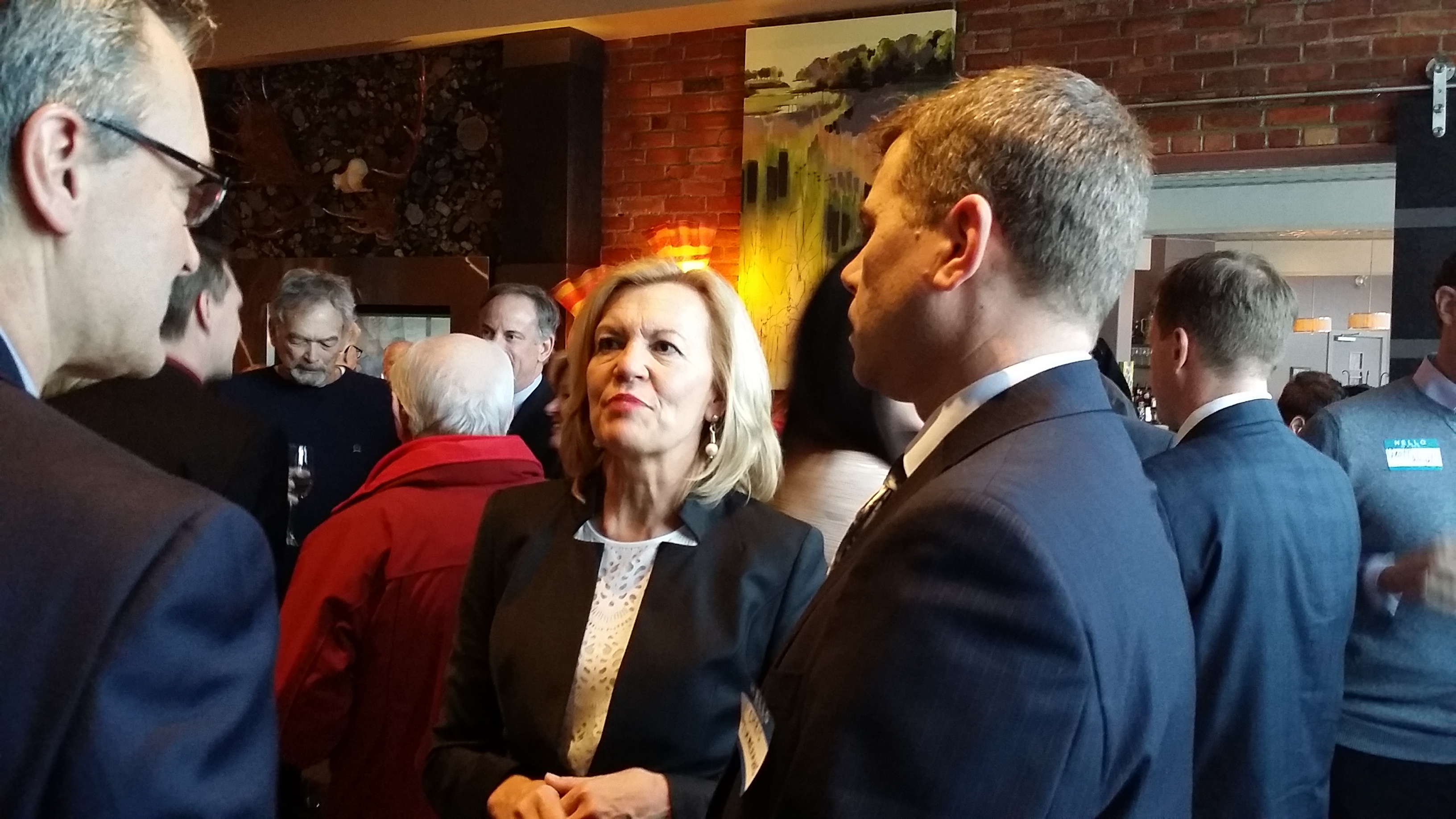 PC leadership candidate Christine Elliott talks with supporters at the Chatham Retro Suites on February 17, 2015. (Photo by Jake Kislinsky)