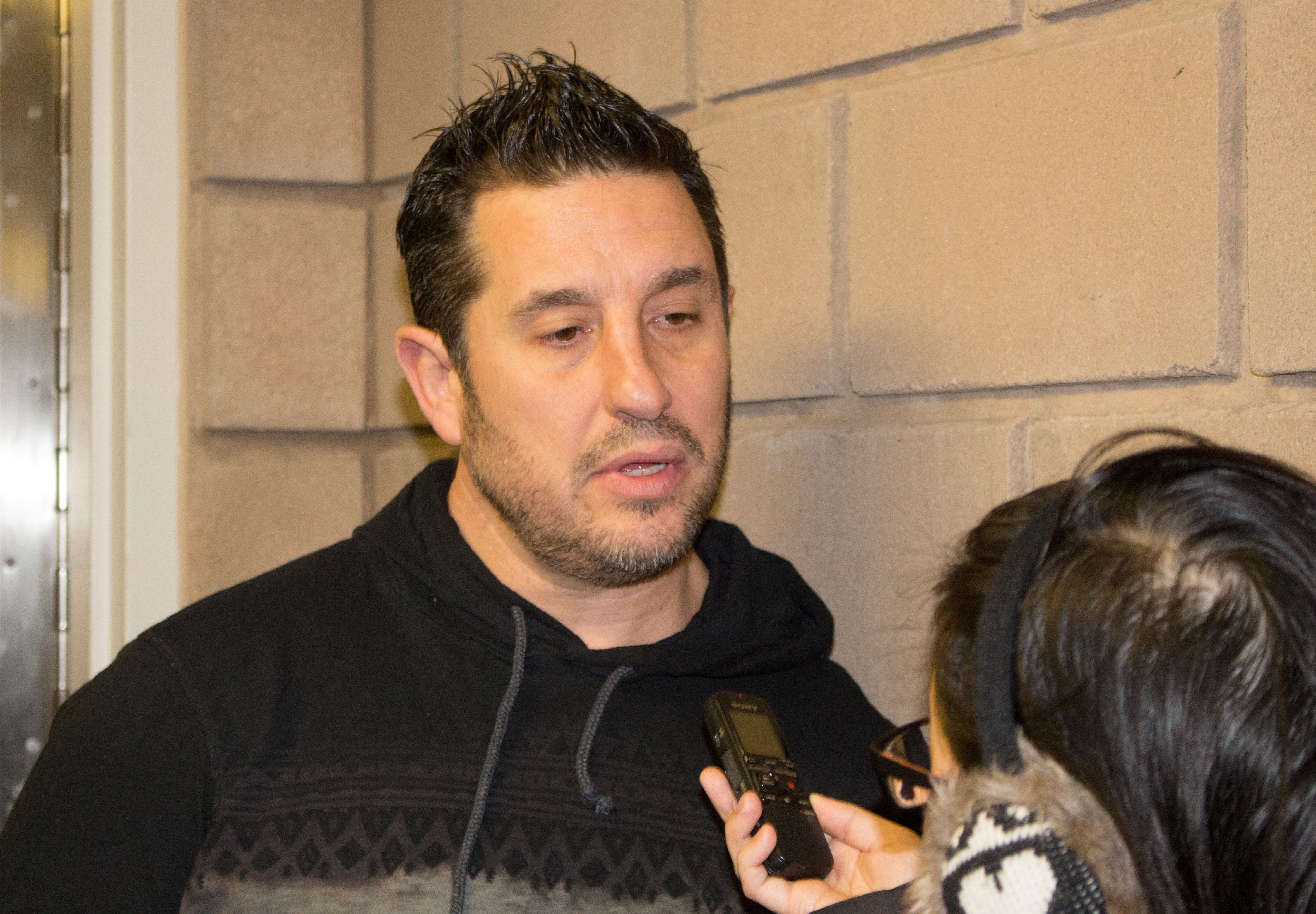 Windsor Spitfires Head Coach Bob Boughner, February 17, 2015. (Photo by Roy Kang)